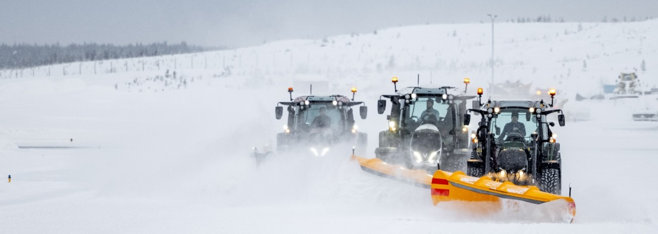 Valtra A N T Series tractors 5th generation snow plow airport winter maintenance